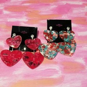 Jewelry - 2 pair of Heart Dangling Earrings